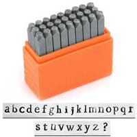 Basic Newsprint Alphabet Lower Case Letter 3mm 1/8 Stamping Set - ImpressArt