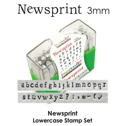 "3mm 1/8"" Alphabet Stamp Set - Newsprint Lower Case - ImpressArt"