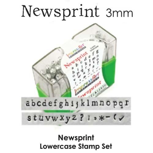 DEADSTOCK Newsprint Alphabet Lower Case Letter 3mm 1/8 Stamping Set - ImpressArt (old style box) DEADSTOCK