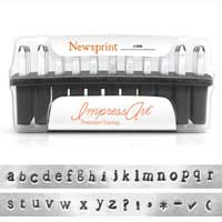 Premium Newsprint Alphabet Lower Case Letter 3mm 1/8 Stamping Set - ImpressArt