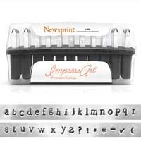 Premium Newsprint Alphabet Lower Case Letter 3mm 1/8 Stamping Set - ImpressArt