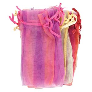 Organza Drawstring Pouch ~ Plaid Assortment (4x3) 100x80mm x12pc (oops mix)