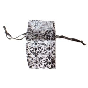 Organza Drawstring Pouches ~ Black & White Damask 55x50mm x12