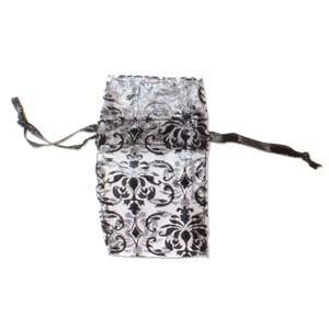 Organza Drawstring Pouches ~ Black & White Damask 55x50mm x12