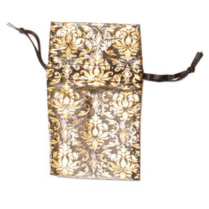 Organza Drawstring Pouches ~ Black & Gold Damask (2.75x3) 70x80mm x12pc