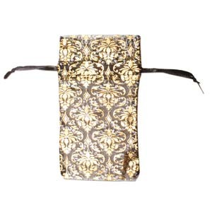 Organza Drawstring Pouches ~ Black & Gold Damask (4x3) 100x80mm x12pc