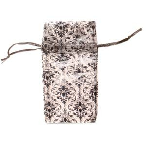 Organza Drawstring Pouches ~ Black & White Damask (4x3) 100x80mm x12pc