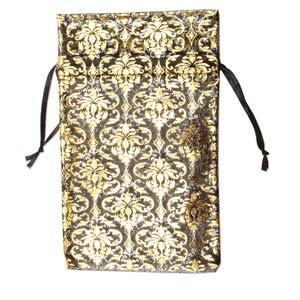 Organza Drawstring Pouches ~ Black & Gold Damask (5x4) 125x100mm x12pc
