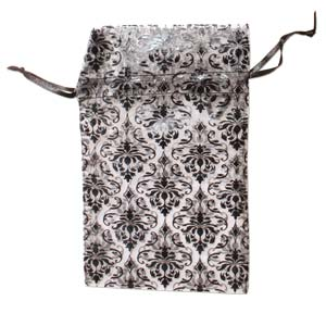 Organza Drawstring Pouches ~ Black & White Damask (5x4) 125x100mm x12pc