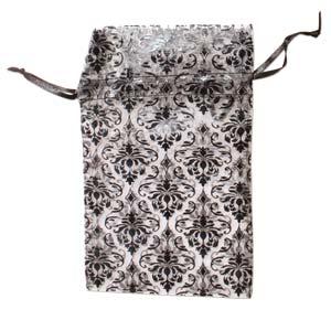 Organza Drawstring Pouches ~ Black & White Damask (5x4) 125x100mm x12pc