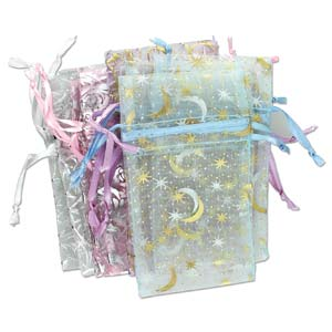 Organza Drawstring Pouch Pastels Patterned Assortment (2.75x3) 70x75mm x12pc (oops mix)