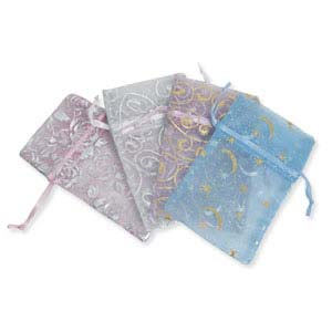 Organza Drawstring Pouches ~ Pastels with Silver or Gold (5x4) 125x100mm x12pc
