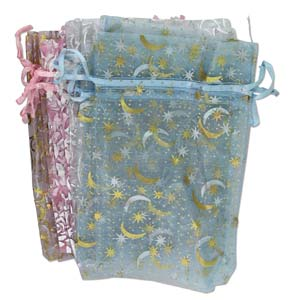 Organza Drawstring Pouch ~ Pastels Patterned Assortment (5x4) 125x100mm x12pc (Beadsmith oops mix)