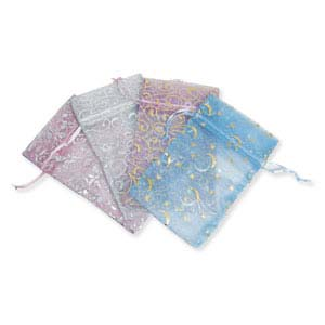 "Organza Drawstring Pouches - Pastels with Silver or Gold 3x2.75"" - 75x70mm x12"