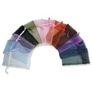 Organza Drawstring Pouch ~ Multi Colour Assortment (4x3) 100x80mm x12pc