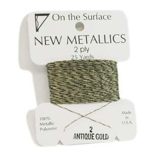 On the Surface - New Metallics 2 Ply 25yds Thread Antique Gold