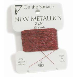 On the Surface - New Metallics 2 Ply 25yds Thread Ruby