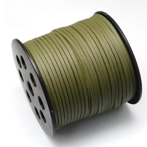Faux Leather Leatherette Flat Cord 2.7-3mm Olive per metre