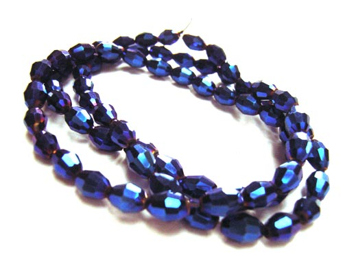 Firepolished Glass Olive Beads 6x4mm Blue Iris Metallic