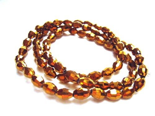 Firepolished Glass Olive Beads 6x4mm Gold Metallic (72pc approx)