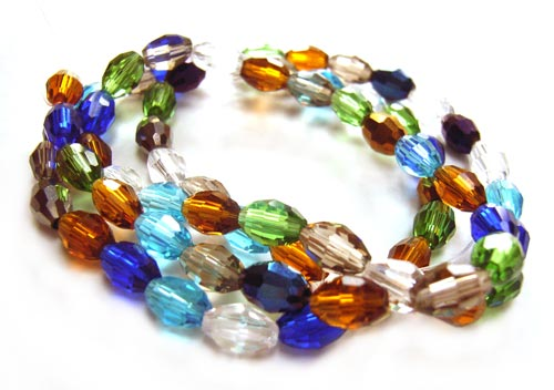 Firepolished Glass Olive Beads 6x4mm Soup Mix (68pc approx)