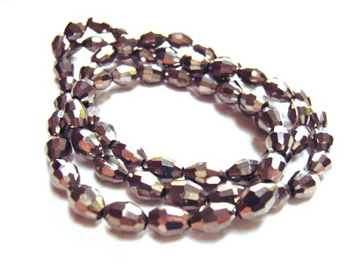 Firepolished Glass Olive Beads 6x4mm Dark Silver Metallic (72pc approx)