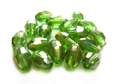 Firepolished Glass Olive Beads 8x6mm Olivine AB (72pc approx)