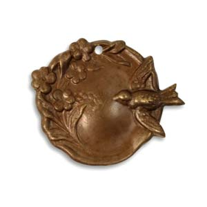 Vintaj Natural Brass 27.5x22.5mm Bird Garden Cameo Pendant x1