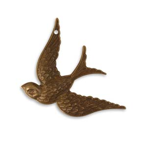 Vintaj Natural Brass - 42x31.5mm Fanciful Bird Pendant x1