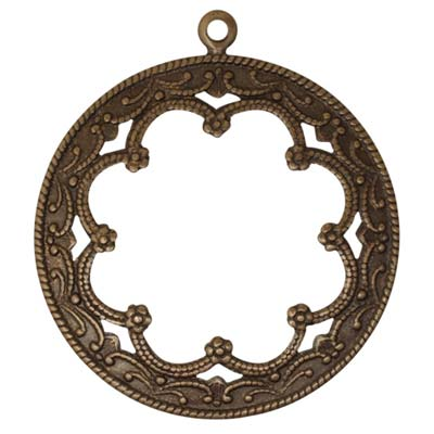 Vintaj Natural Brass 35mm Framed Scrollwork