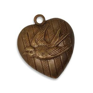 Vintaj Natural Brass 23x27mm Love Bird Heart Pendant