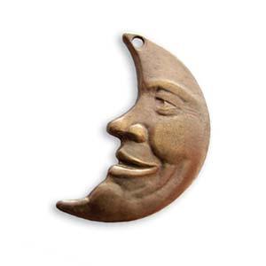 Vintaj Natural Brass 25.7x15.5mm Man in the Moon Pendant x1