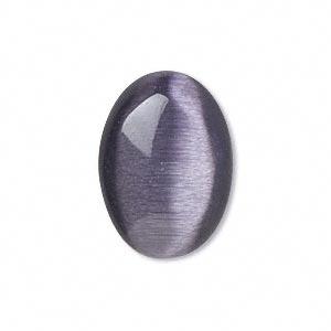 Cabochon - Cats Eye/Fibre Optic Purple 25x18mm Oval x1