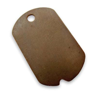 Vintaj Natural Brass 32x19mm Dog Tag x1