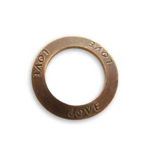 Vintaj Natural Brass 23mm Love Affirmation Ring x1