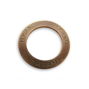 Vintaj Natural Brass 23mm Dream Affirmation Ring x1