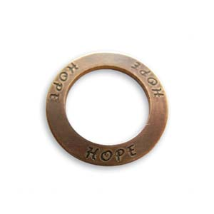 Vintaj Natural Brass 23mm Hope Affirmation Ring x1