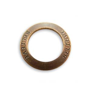 Vintaj Natural Brass 23mm Believe Affirmation Ring x1