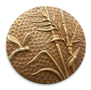 Vintaj Natural Brass 42mm Dragonfly Reed Pendant x1