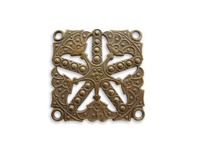 Brass VINTAJ - Natural - 32x32mm Etruscan Kaleidoscope x1