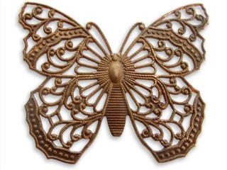 Vintaj Natural Brass - 38x46mm Filigree Butterfly x1