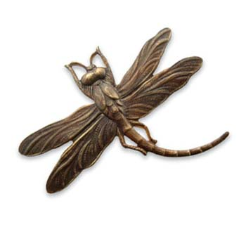 Vintaj Natural Brass - 47x35mm Art Deco Dragonfly Pendant x1