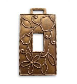 Brass VINTAJ - Natural - 19 x 36mm Rustic Daisy Window x1