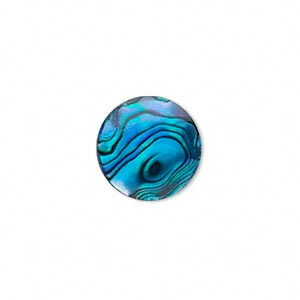 Cabochon - Paua Shell Blue 15mm Round x1