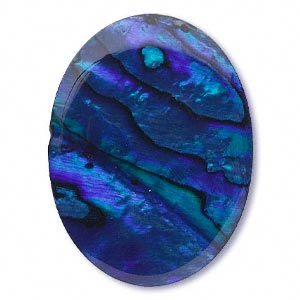 Cabochon - Paua Shell Blue 40x30mm Oval x1