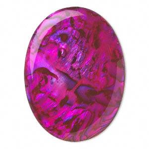 Cabochon - Paua Shell Pink 40x30mm Oval x1