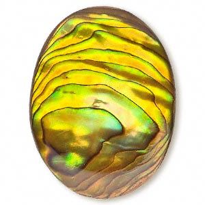 Cabochon - Paua Shell Gold 40x30mm Oval x1