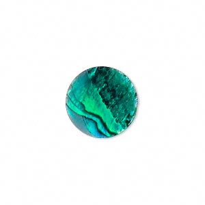 Cabochon - Paua Shell Green 15mm Round x1