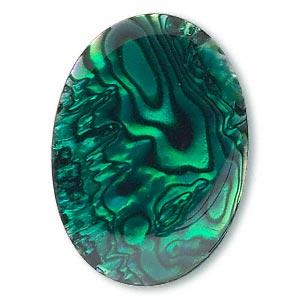 Cabochon - Paua Shell Green 25x18mm Oval x1