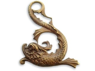 Vintaj Natural Brass 31x44mm Asian Marine Dolphin Pendant x1